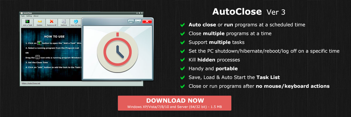AutoClose - Close Running Programs at a Scheduled Time